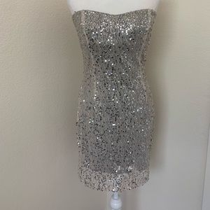 Trixxi sequin sparkle sweetheart strapless dress